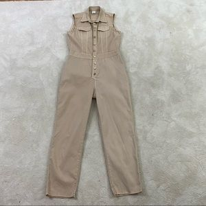 Rinascimento Women Khaki Button Up Stretchable Jumpsuit Sleeveless Size Medium